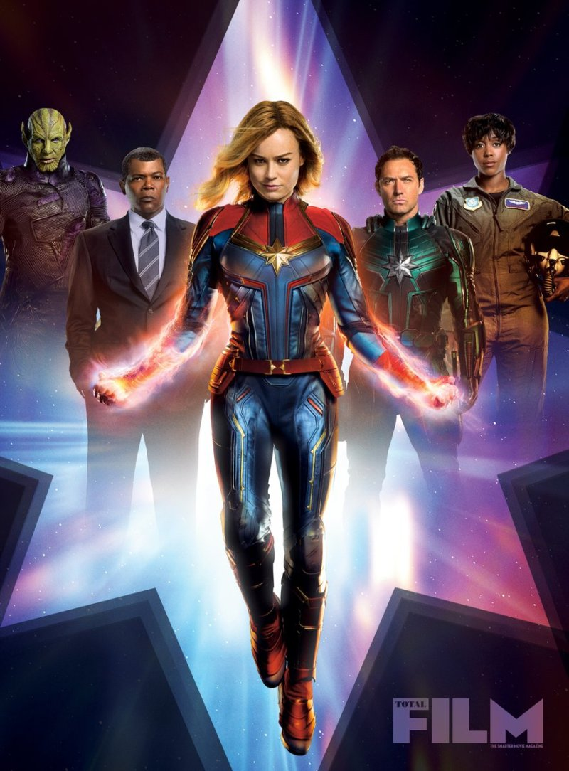 Captain Marvel (Brie Larson) en couverture de Total Film