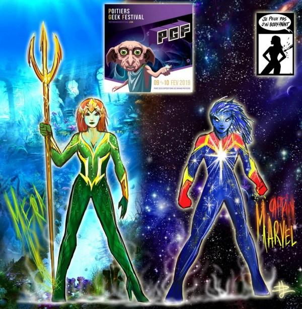 Bodypaint Aquaman Marvel Denis Lapierre body Paint au PGF