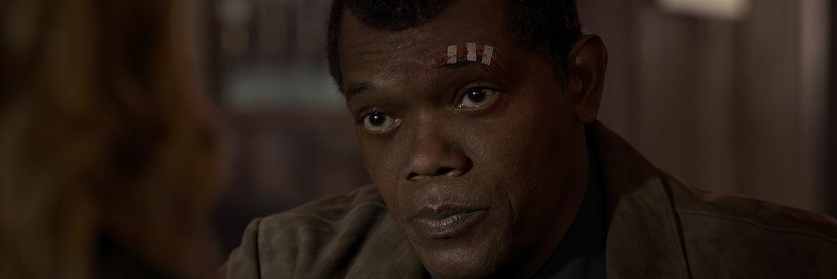 "Nick Fury (Samuel L. Jackson) dans Captain Marvel"""