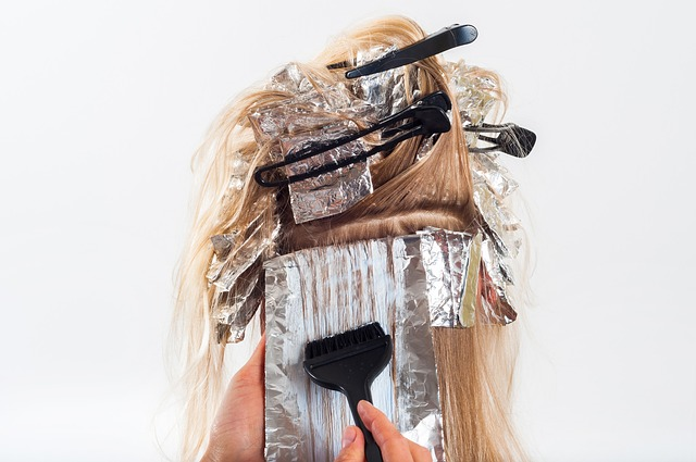 long blonde hair with foil highlights and clips