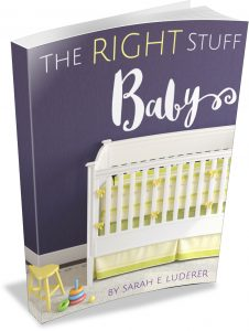 the right stuff book - purple background with white crib and yellow bedding