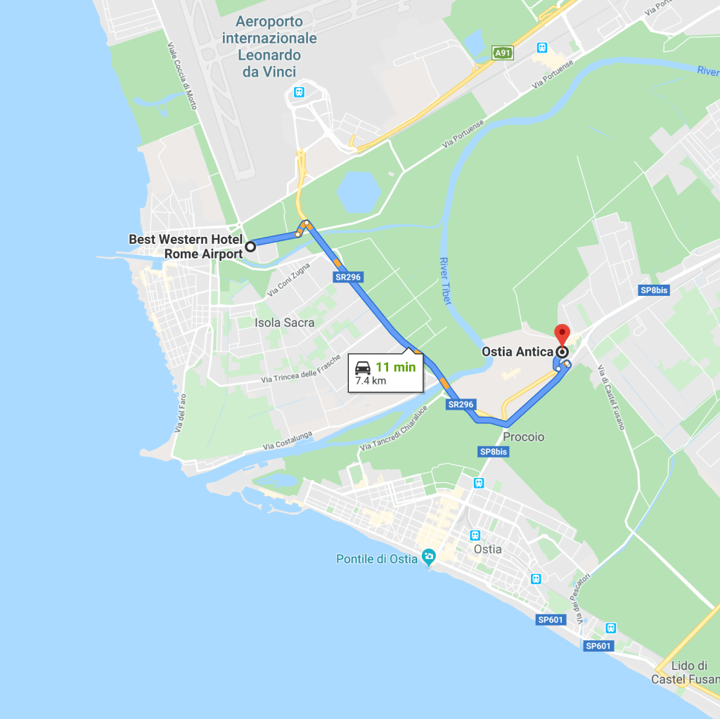 Directions for Fiumicino to Ostia Antica
