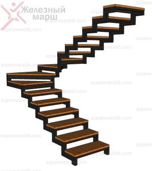 Каркас лестницы на ломаном косоуре с забежными ступенями