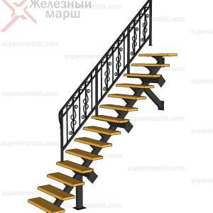 Лестница на монокосоуре с коваными перилами