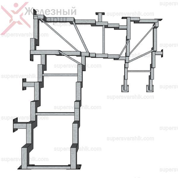 каркас лестницы из металла открытого типа