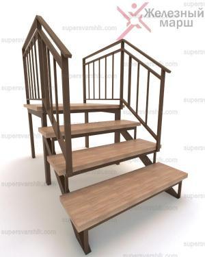 Металическое крыльцо со ступенями из дерева