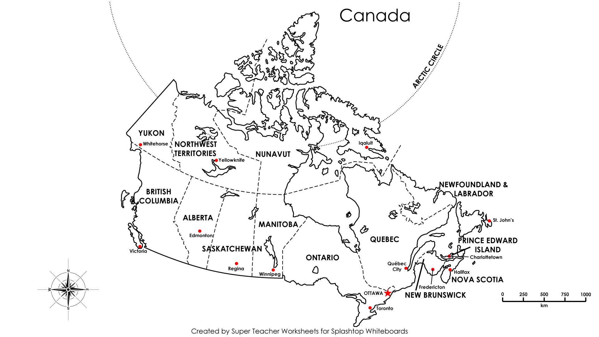 Canadian Capitals Worksheet