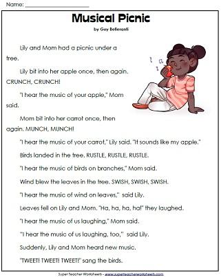1st Grade Reading Comprehension Printables