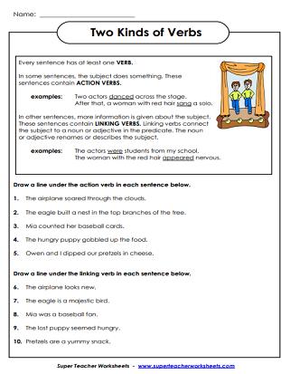 Verb Worksheets Action Verbs Linking Verbs Verb Tenses