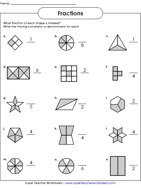 Basic Fraction Worksheets Manipulatives