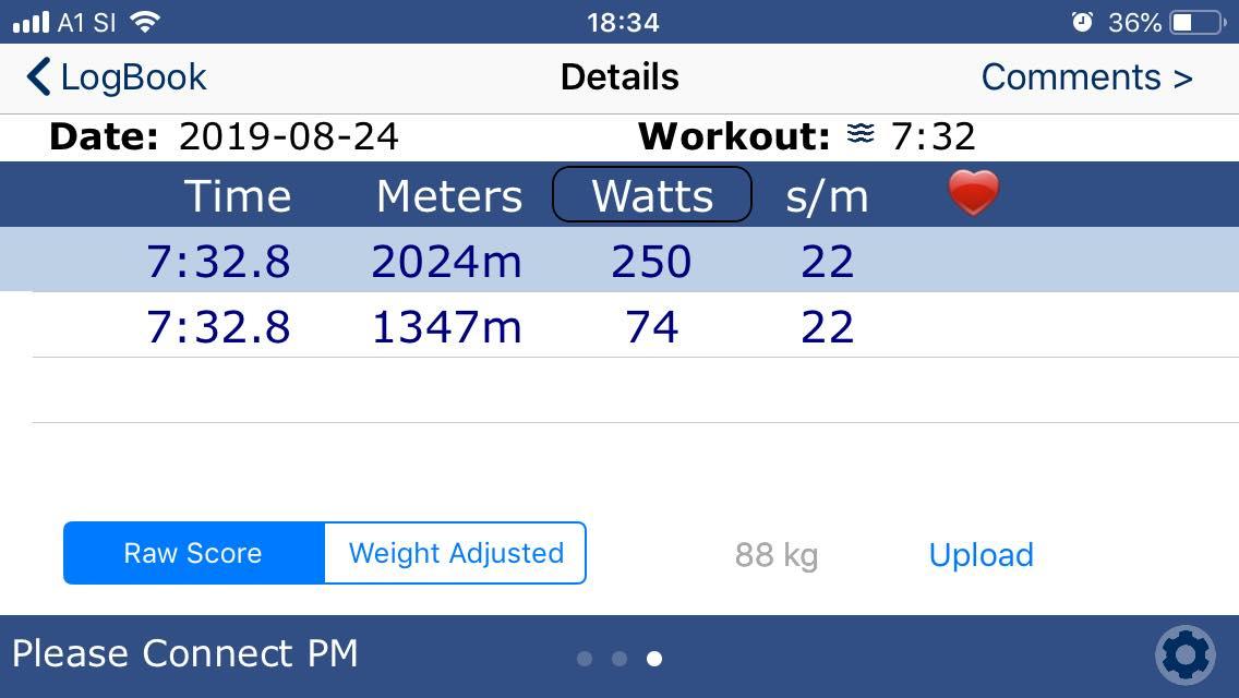 Test na 2km in vidna povprečna moč