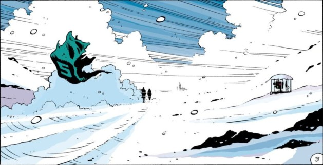 Panel from Watchmen, chapter 11, page 3. A bleak Antarctic landscape, with two riders in the very far distance. A fierce wind blows an empty sugar cube wrapper, stamped with an S, into the foreground.