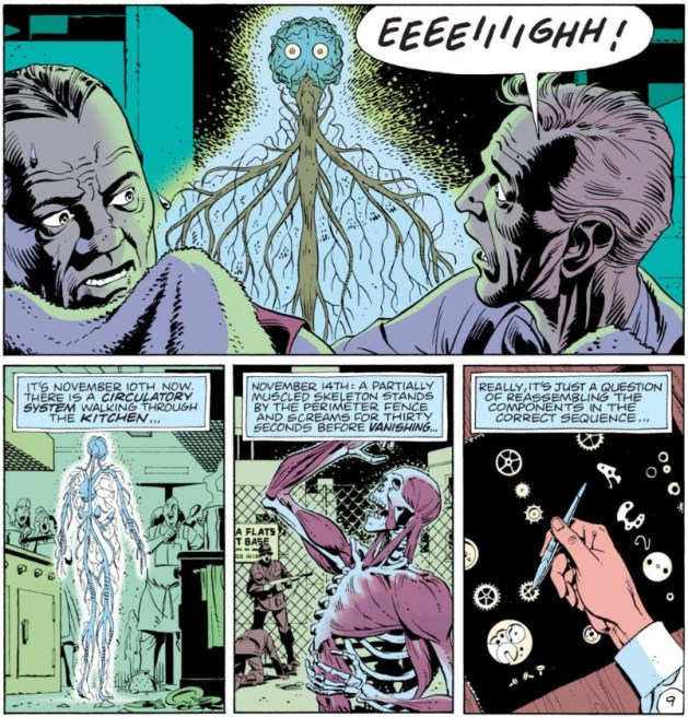 "Watchmen chapter 4, page 9, panels 4-7. Panel 4: two frightened men's faces in the foreground. One is looking back, screaming, at a brain and nervous system suspended in the air. Panel 5: caption ""It's November 10th now. There is a circulatory system walking through the kitchen."" The art illustrates this. Panel 6: caption ""November 14th: A partially muscled skeleton stands at the perimeter fence and screams for thirty seconds before vanishing."" Again the art is a straightforward illustration of the caption. Panel 7: caption ""Really, it's just a question of reassembling the components in the correct sequence."" Art is wristwatch pieces laid out on a black cloth. Young Osterman's hand is picking one up with tweezers."
