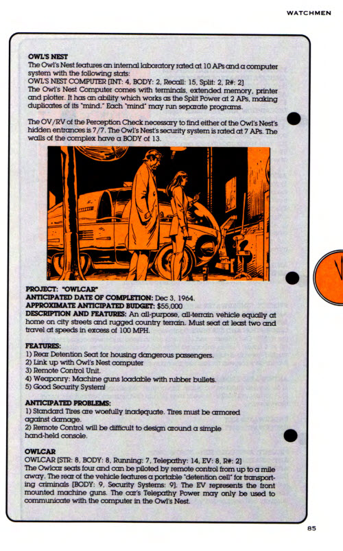 Page 85 of the Watchmen sourcebook, which lists RPG details of the Owl's Nest and Owlcar