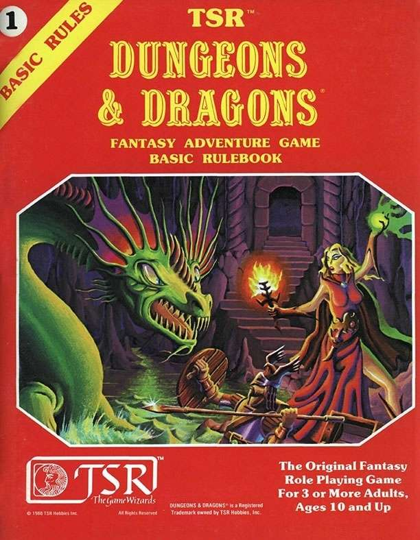 Cover of the D&D basic rulebook from 1981, described elsewhere in the post