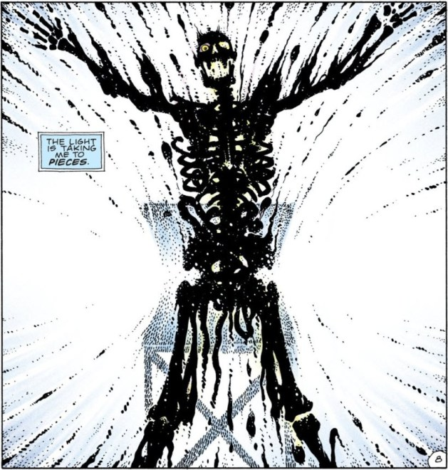 Watchmen, Chapter 4, page 8, panel 4. Jon reduced to a skeleton, and even that disintegrating. Caption: The light is taking me to pieces.