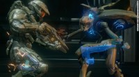 In Halo 4, a human in a battle suit fights