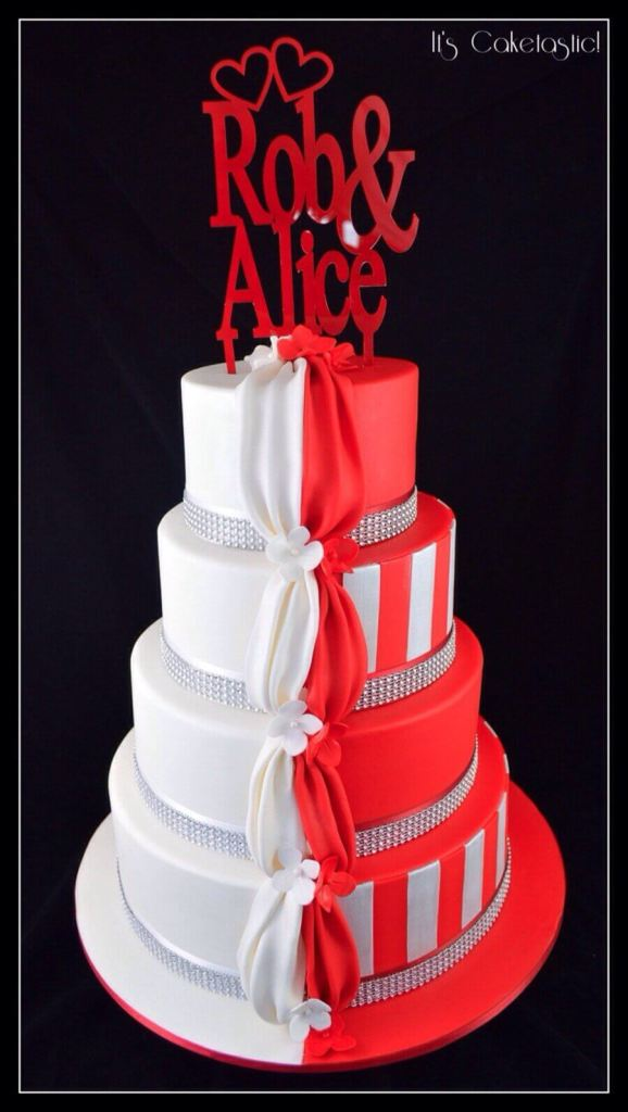 Half and half red and white wedding cake