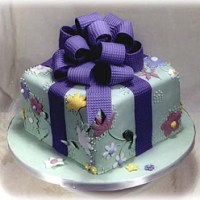 One-Tier Wedding Cake - Wrapped Gift Design