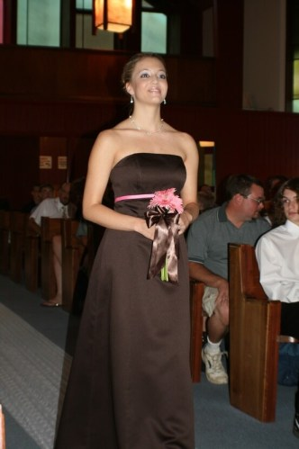 Pink and Brown Bridesmaid Dress