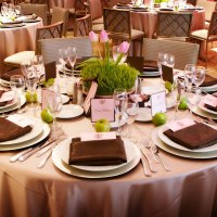 Pink and Brown Wedding Reception Tables