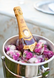 Picture of ice cubes with roses for wedding reception