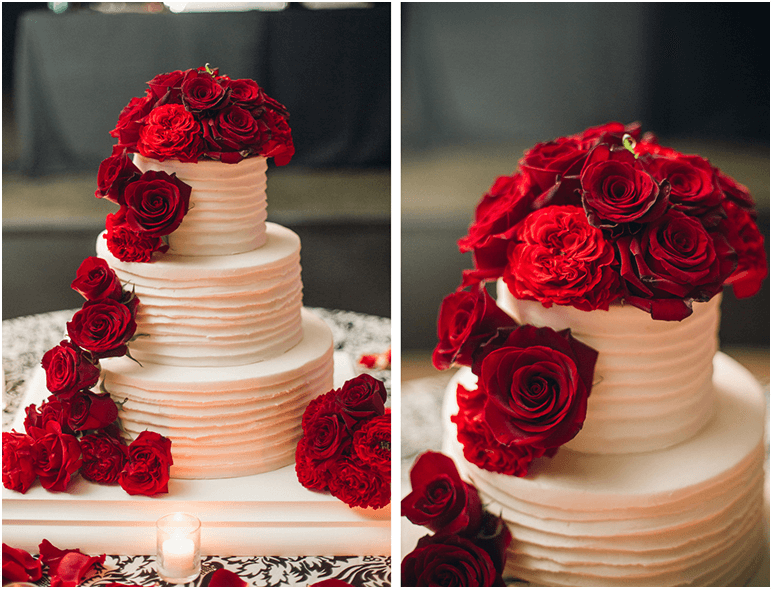 Stunning Red and White Wedding Cake Ideas   Click to See All   This stunning classic red and white wedding cake with roses was designed by  Boston Floral for a picturesque fall wedding in New England