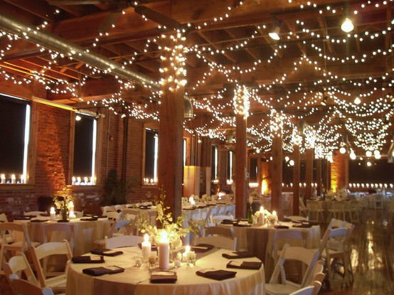 Wedding Ceiling Decorations - Swagged Twinkle Lights