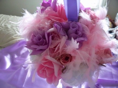 Wedding Pomander Bouquet With Feathers