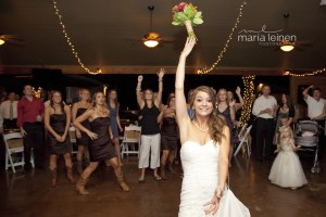 Picture of wedding reception, bouquet toss tradition