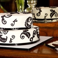 Black and White Wedding Cake - Two Layer