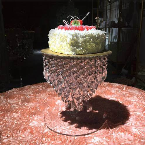 Cake stand with hanging crystals