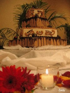 Fall Wedding - Close up picture of cake table