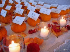 Fall Wedding Decor Ideas - Pumpkin Placecards