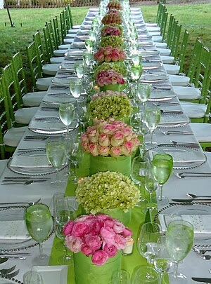 Green and Pink Wedding Tables