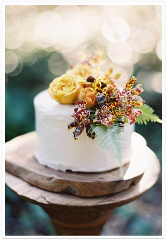 One Tier Fall Wedding Cake