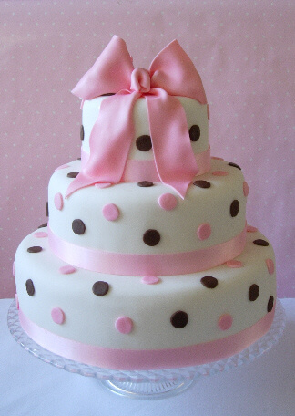 Pink and Brown Polka Dot Wedding Cake