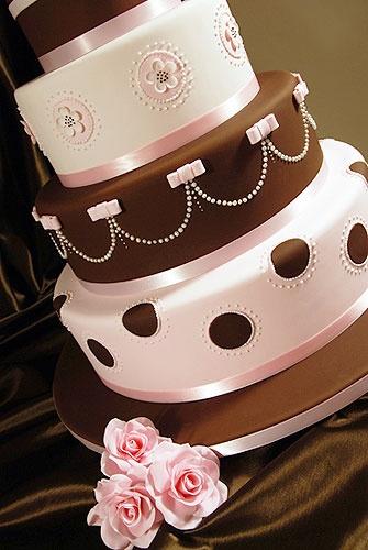Pink and Brown Wedding Cake