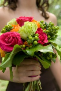 Pink and green bouquet for wedding