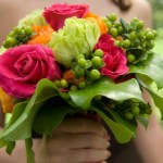 Deep Pink, Green and Orange Bouquet