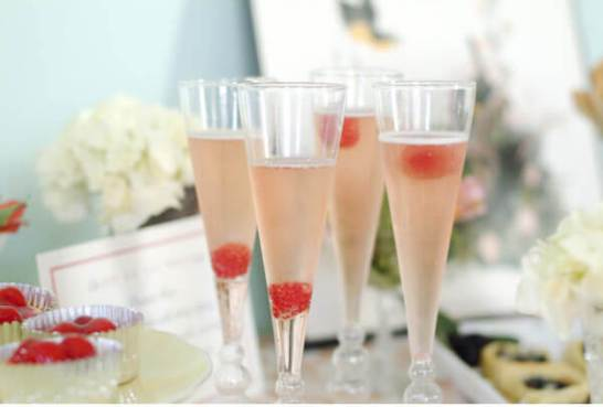 Pink Champagne and Raspberries for Wedding Reception