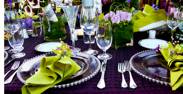 Purple and Green Wedding Table Setting