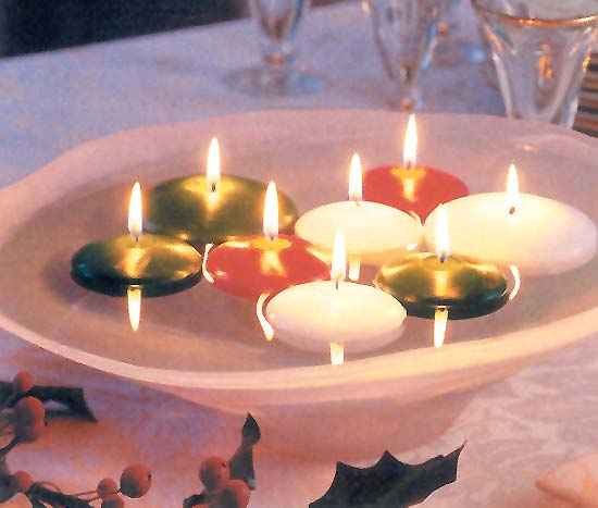 Simple Christmas Wedding Centerpieces - Floating Candles