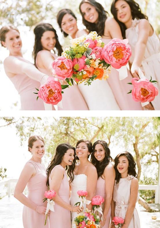 Single stem peony bouquet for wedding