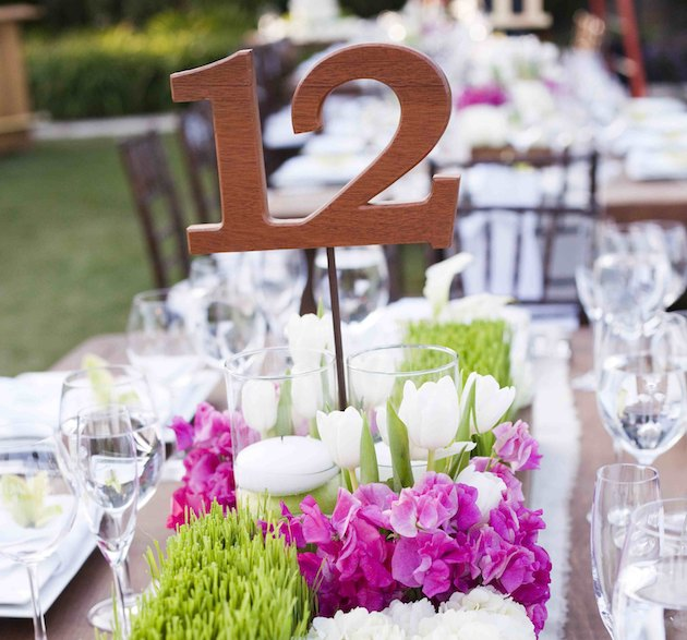 Table numbers at wedding reception