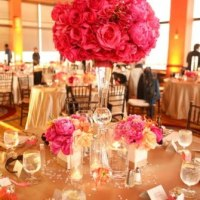 Tall Wedding Centerpieces - Pink and Orange