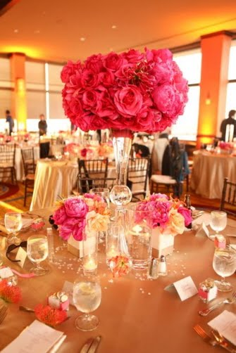 Tall Wedding Centerpieces Pink And Orange