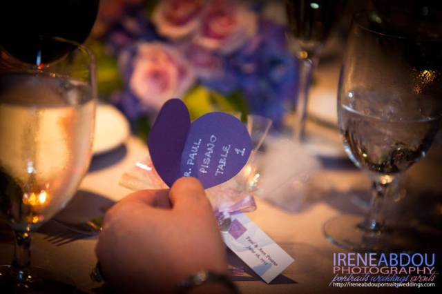 Heart escort cards for wedding reception