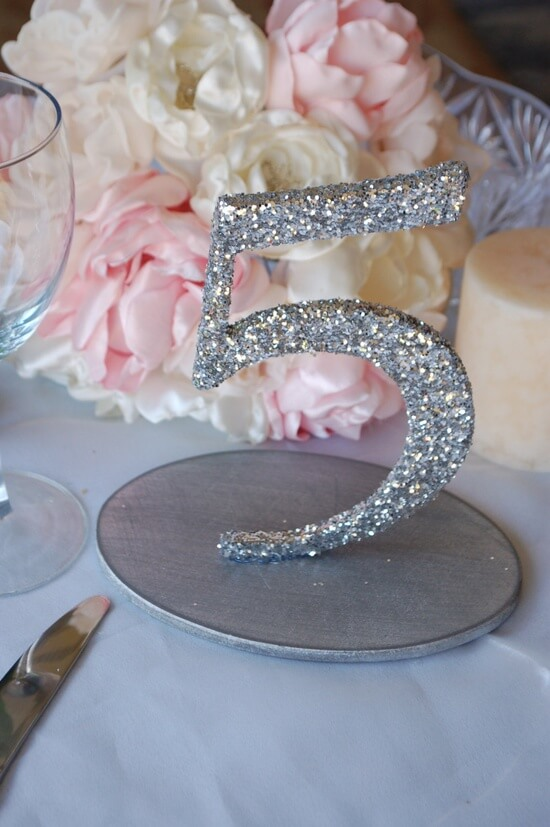 Glitter table numbers for wedding reception tables