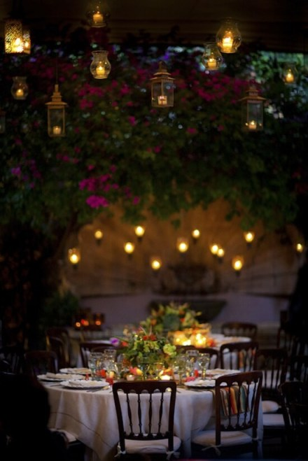 Elegant Evening Outdoor Garden Wedding Reception